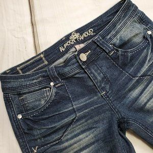 Almost Famous Women's Jeans Size 7 Juniors Straight Low Rise Distressed